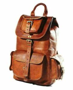 NEW Men'S Genuine Leather Vintage Laptop Backpack Rucksack Messenger Satchel Bag