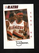 Clyde Drexler & Cliff Robinson--1993-94 Portland Trailblazers Schedule-U.S. Bank