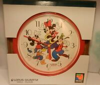 "Vintage DISNEY MICKEY MOUSE & FRIENDS 10.5"" Wall Clock 💎 Lorus Quartz"
