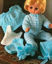 """KNITTING PATTERN BABY DOLLS CLOTHES 12-14-16-18"""" Sleepsuit, Top, Undies, Boots"""