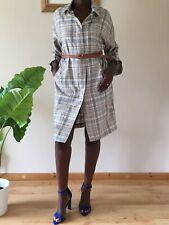 Zara Damen Trenchcoat Größe M UK 10-12 kariert leichte lange Mantel Style Knopfleiste