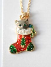 """Cat in a Christmas Stocking Necklace w Crystals / 18"""" Gold-tone Chain / NWT"""