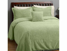 New Concerto 3pc Chenille green Bedspread Set Full: comforter, 2 standard shams