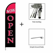 Now Open Feather Flag Banner Pole Kit Swooper Advertising Sign, 15ft - Crimson