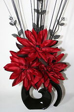 Artificial Silk Flower Arrangement - Red Lily Flowers in Black Modern Vase.