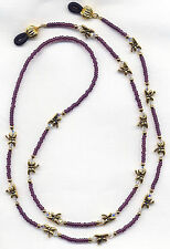 GOLDEN DRAGONFLIES on AMETHYST Eyeglass-Glasses Holder Necklace Chain CUSTOMIZED