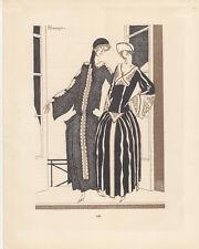 Am Balkon Pochoir Gazette de Bon Ton 1922 Mode ART DECO P. Mourgue