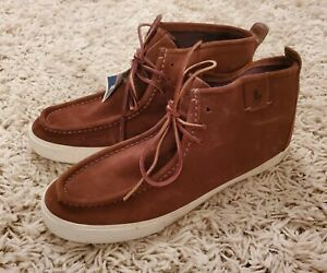Polo Ralph Lauren Tron Brown Suede Leather Lace-Up Mens Chukka Boots Size 11D