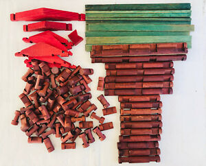 Lincoln Logs Lot 113 WOODEN PARTS & PIECES Vintage Maroon Red Roof Green Slats