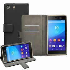 New Wallet BLACK Flip Case Cover Pouch Saver For Sony Xperia M5 experia