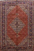 Vintage Ardebil Geometric Area Rug Hand-Knotted Traditional Oriental Carpet 7x10