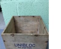 2 Large Vintage Wooden Crates (old box shabby chic storage cool rustic wedding