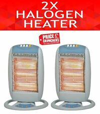 2 x Halogen Electric Office House Space Heaters Energy Efficient Oscillating