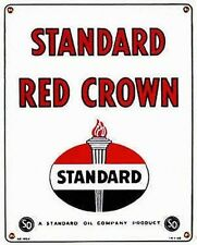 Standard Red Crown Gas Pump Front Advertising Sign 15 H x 12 W