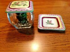Party Lite Square Glass Votive Candle Holder W/Lid & Under Plate Floral Design