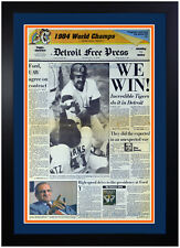 Detroit Tigers World Series Champions Vintage Newspaper Framed Oct 15 1984