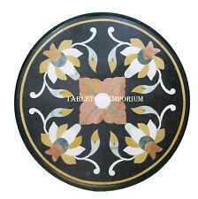 "12"" Black Marble Round Coffee Table Top Jasper Inlay Semi Precious Outdoor Decor"