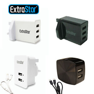 Multi-Port Fast Quick Charge USB Hub Mains Wall Charger UK Plug Adapter Phones