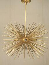 Mid Century Modern Large Round Urchin Chandelier brushed Brass Starburst Light