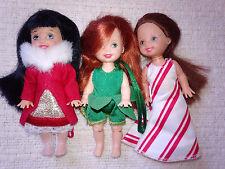 3 Christmas Ornament Holiday Kelly Dolls Caroling Lorena Poinsettia Jenny 2001