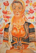Post impressionist portrait oil painting woman with folk costume