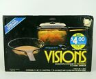 NOS 1986 VTG Corning Visions Amber Glass 3pc Set Saucepan & Skillet V-250 SEALED