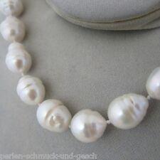 Collier 47cm bis 50cm Riesig Echte Perlen Barock 14mm Silber-Weiß TOP Geschenk