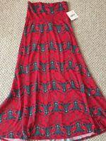 LuLaRoe Maxi Skirt Dress XS Red Black Mosaic Deer Rare Background New X Small