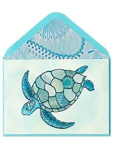 Papyrus Blank card- Mosaic Sea Turtle Tortoise With Gems, Iridescent Blues