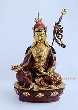"Face Painted Hand Carved Gold Gilded 14.5"" Guru Rinpoche Copper Statue Frm Patan"