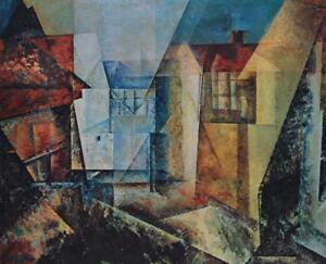 Vintage Lyonel Feininger German Expressionist Village Street Circa 1960s #S103