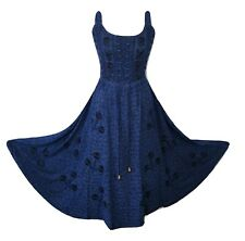 Summer Maxi Dress Empire Waist Viscose Fit Flare Navy Blue One size 14 16 18