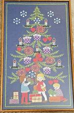Vintage Swedish Embroidery Framed Christmas Scene