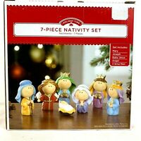 7 Piece Nativity Set Mary Joseph Jesus Angel Wise Men Holiday Time Mini 2""