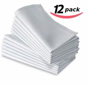 12PC POLYCOTTON RESTAURANT DINNER CLOTH LINEN WHITE 20X20 PREMIUM HOTEL NAPKINS