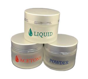 Set of Empty Frosted Glass Jar 2 oz - With Powder/Acetone/Liquid Label