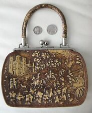 Antique Victorian Pstorial Castle Lovers Hunting Dog Tooled Leather Purse 1890s
