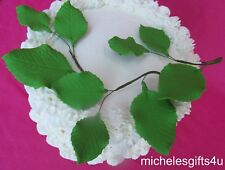 Gum Paste 9 Green Sugar Rose Leaves on wires