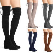 Women Winter Over The Knee High Boots Suede Side Zipper Low Block Heel Shoes