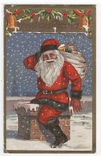 Santa in Chimney Christmas gold border 1910 postcard