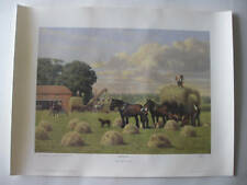LIMITED EDITION FARMING  SHIRE HORSE HAY MAKING LITHOGRAPH PRINT