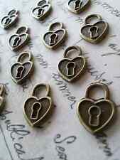 Small Heart Lock Keyhole Charms Pendants Steampunk Rustic Antiqued Bronze 10pcs