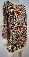KENZO PARIS Orange Yellow & Brown Cotton Blend Leopard Print Slouchy Jumper Sz:L