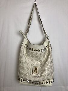 Marciano Off White Woven Tote Bag Purse with Gold Tone Hardware