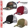 FLEXFIT SNAPBACK MESH RETRO TRUCKER CAP BASEBALL HAT PLAIN CAMO 6606 GOLF PEAK