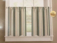 """Colordrift 24"""" Curtain Tier Set - Forest Stripe Green"""
