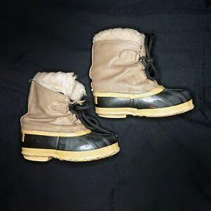 SOREL Kids Winter Waterproof Insulated Duck Snow Boots, Wool Liners, Size 10