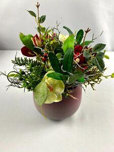Blumenstrauß*Seidenblume*Kunstblume*Winter*Winterstrauß*Weihnachtlich*Silber
