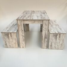 Esstischgruppe + Bänke 3er Set  120x80cm, Canyon White Pine ,Made in Germany