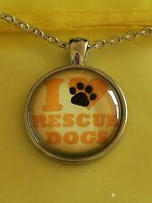 I Love Rescue Dogs Glass Cabochon Dome Pendant Necklace. Silver Plated. NEW